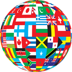 International globe with flags countries