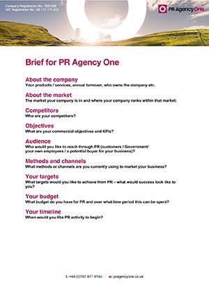 PR Brief Template - PR Agency One
